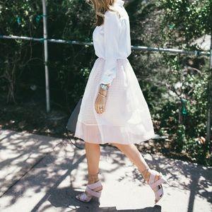 Elizabeth and James pink chiffon midi skirt sz 4